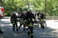 Aus dem ersten Geschoss des Gebäudes muss eine Person über eine Leiter gerettet werden.
