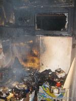 In der Kochnische brannte es im Bereich des Herdes.